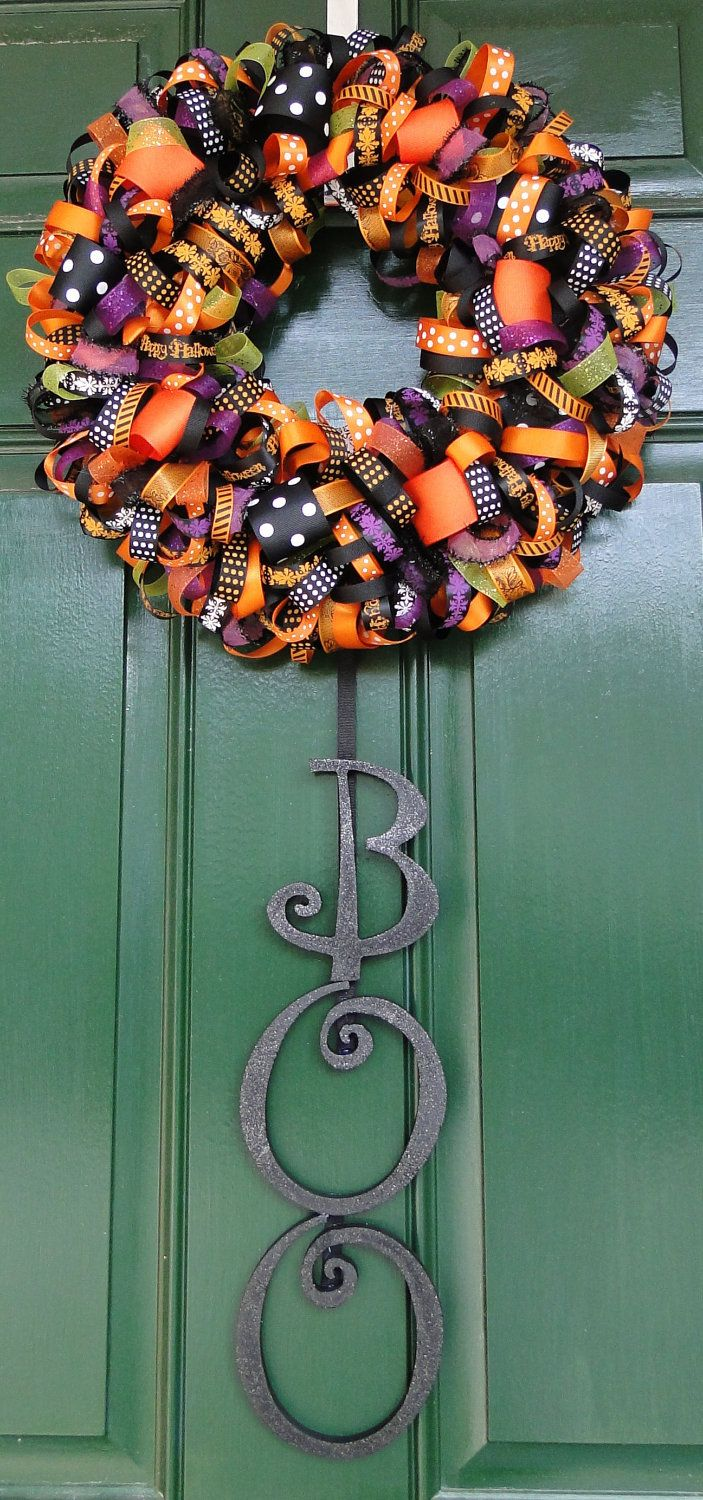 Photo of Halloween Ribbon Wreath with BOO Wooden Letters