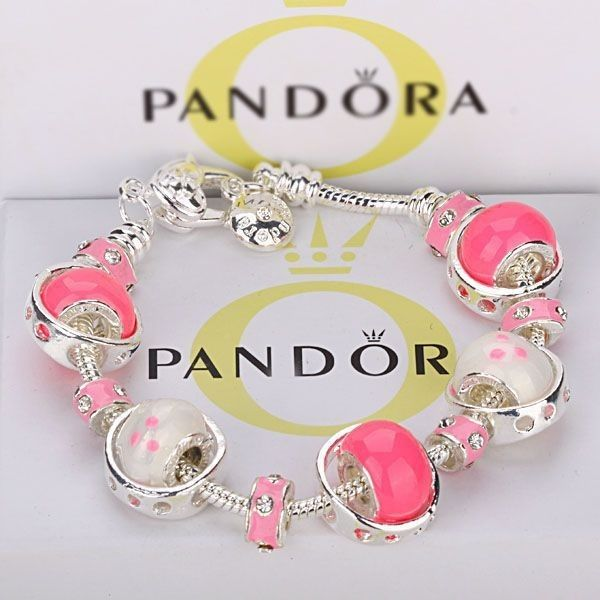 taille 40 b4369 ae3a2 925 Argent Sterling Rose Blanc Pandora Charms Bracelet ...