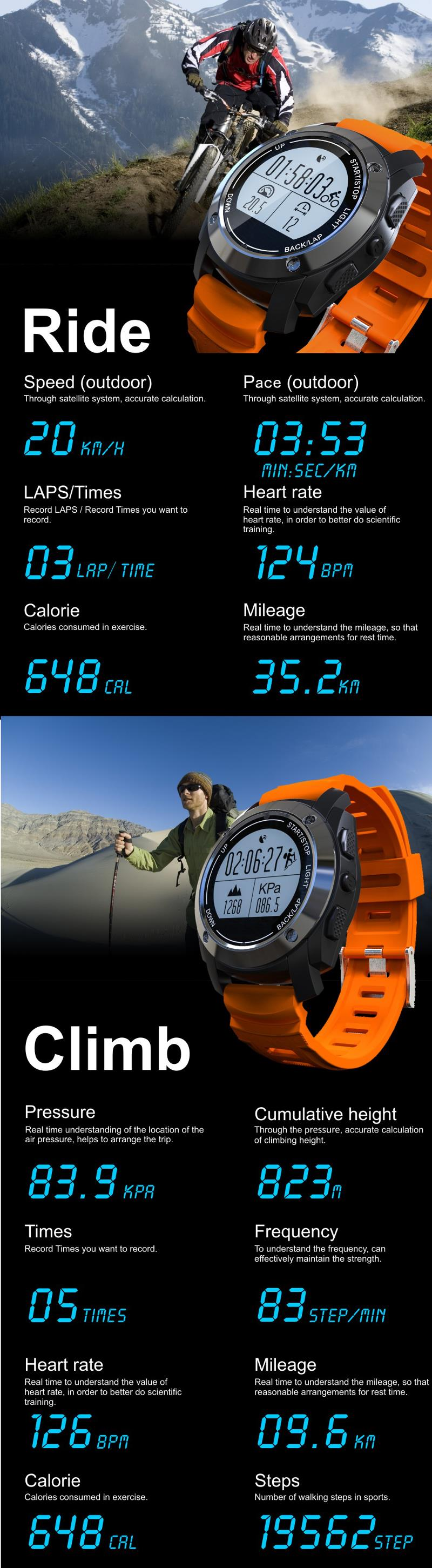 S928 GPS Smart Watch Air Pressure Environment Temperature