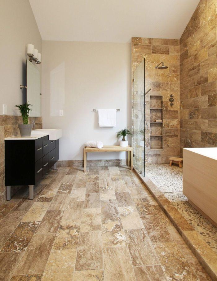 ▷ 1001 + idées déco pour la salle de bain travertin - salle de bain meuble noir