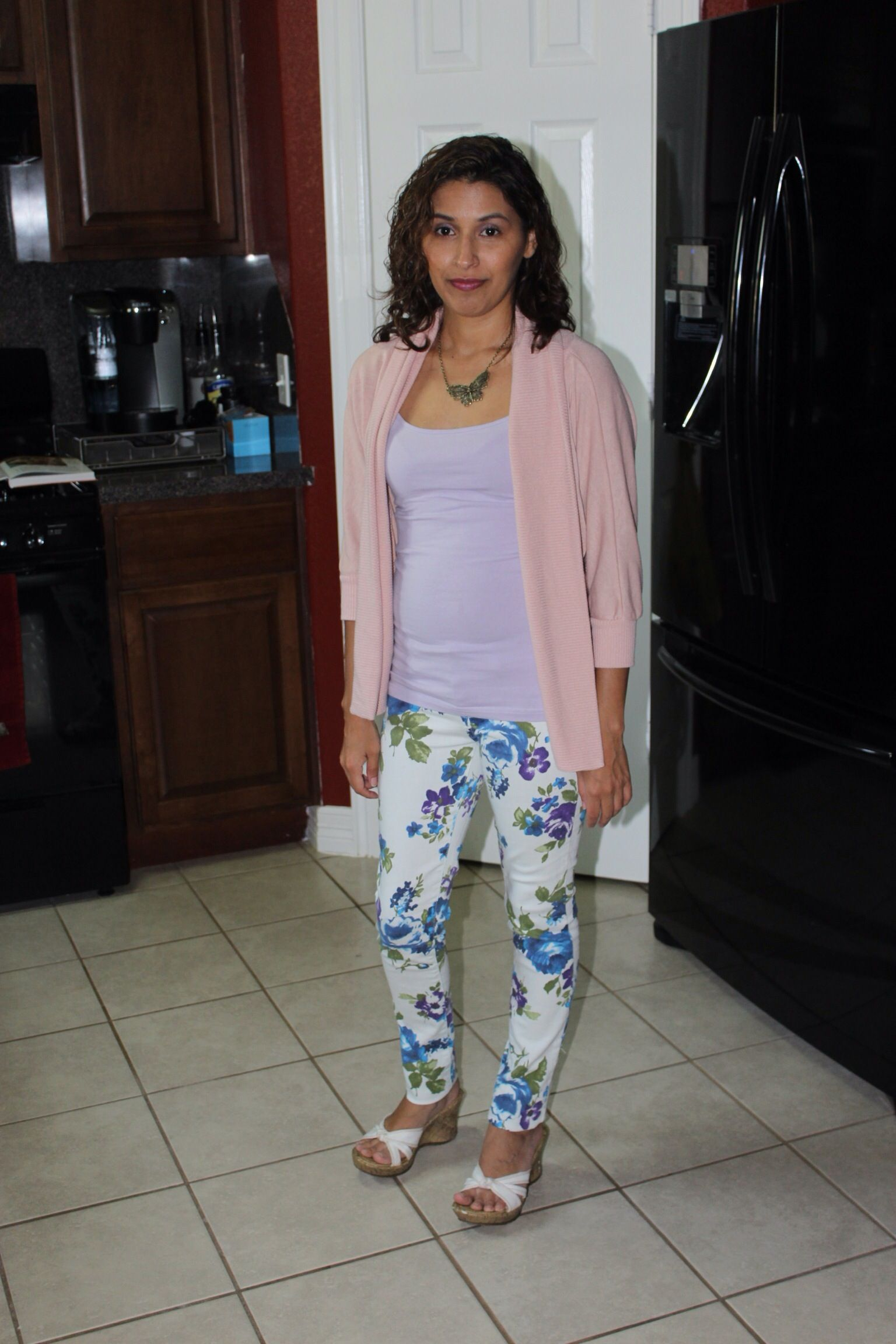 Floral print jeans with pastel cami & cardigan