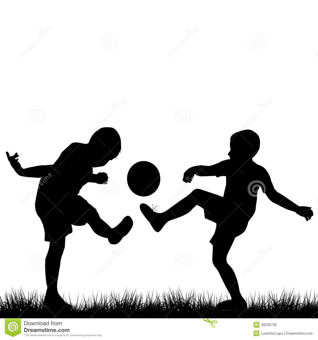 Silhouettes Of Children Playing Football Silhouette Art Silhouette Vintage Kids Photography