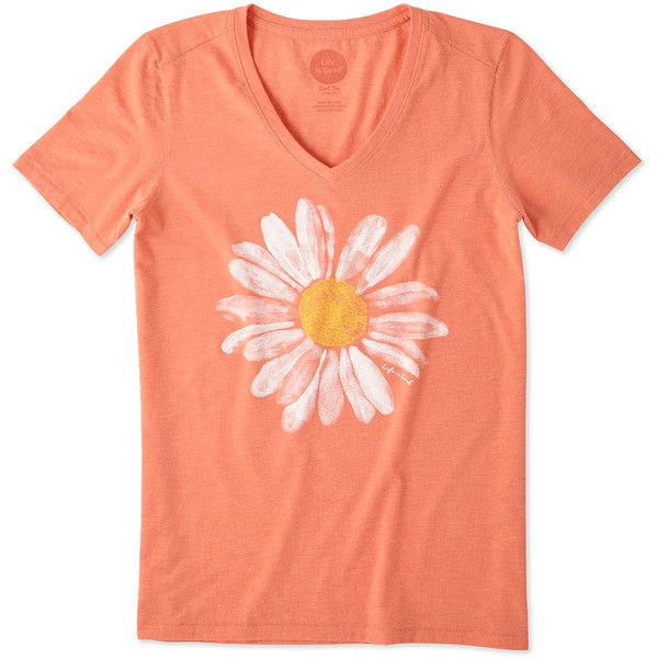 08c88e5b1 Life is Good® Fresh Coral Daisy Watercolor Cool V-Neck Tee ($15) ❤ liked on  Polyvore featuring tops, t-shirts, holiday graphic tees, graphic design t  ...