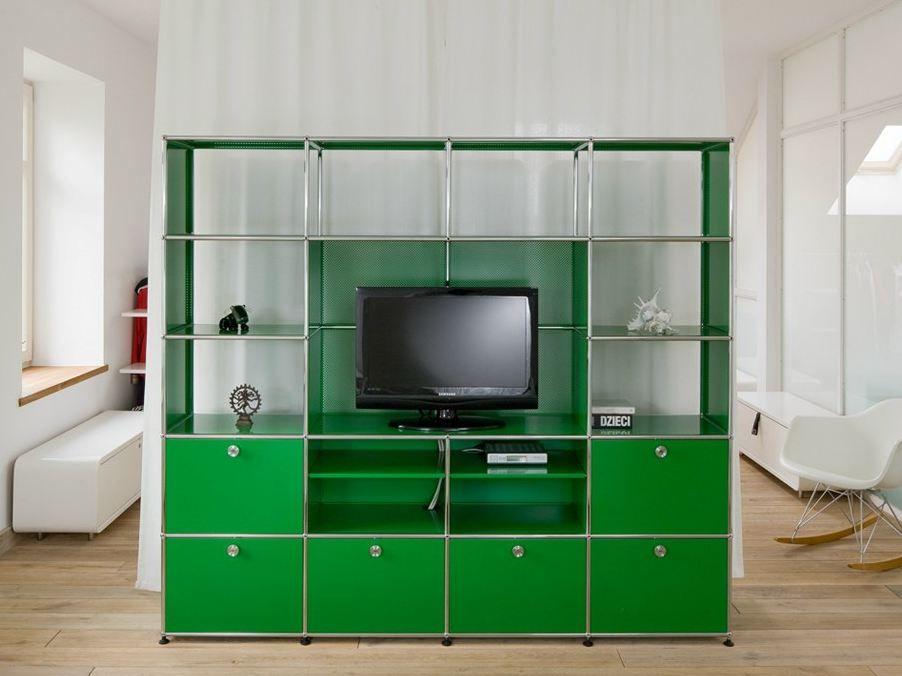 Offenes tv regalsystem aus metall usm haller media shelving tv b cherregal usm modular - Offenes regalsystem ...