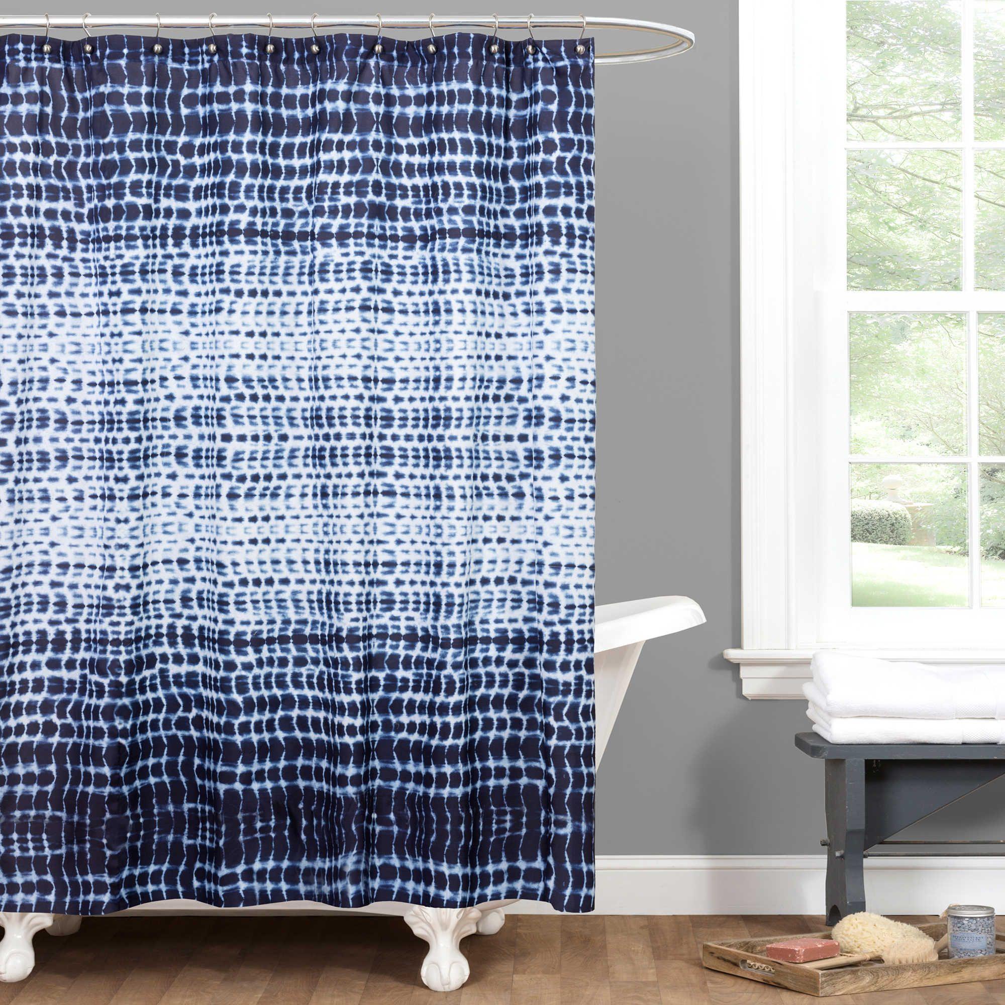 Arney Tye Dye Shower Curtain In Indigo Blue Bathroom Decor Blue
