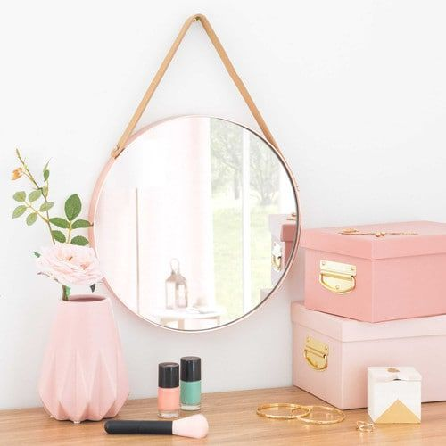 Espejo redondo para colgar de metal d 30 cm laredo rose for Espejo redondo pared