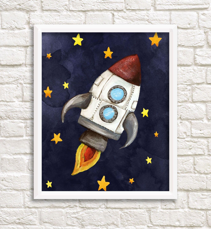 DIGITAL Print kids art SPACE Instant download Rocket
