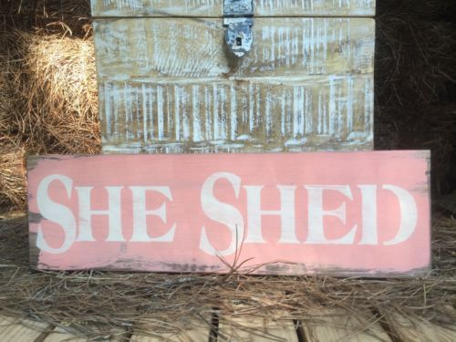 "Photo of Details about Large Rustic Wood Sign – ""She Shed"" Distressed Fixer Upper Woman cave"