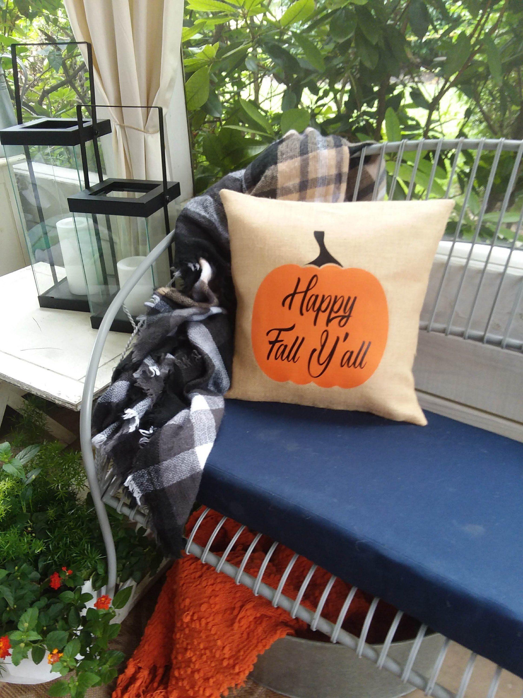 Outdoor Fall Pumpkin Happy Fall Yallletter Burlap Pillows