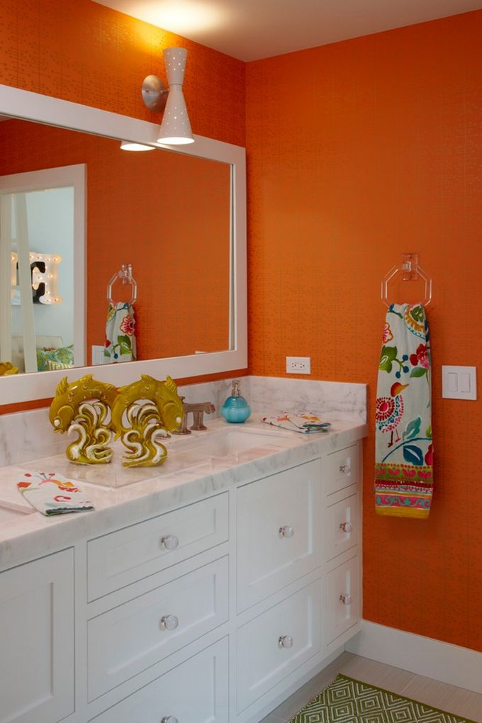 K Mathiesen Brown Design Brown Bathroom Decor Orange Bathrooms