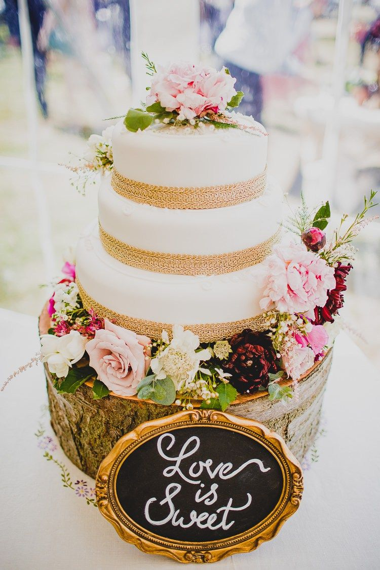 Marks Spencer Cake Flowers Hessian Love Is Sweet Sign Rustic Dusky Pink Gold Picnic Marquee Wedding