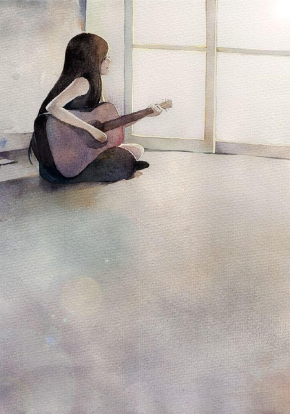 Guitar playing girl feeling alone like me sometimes
