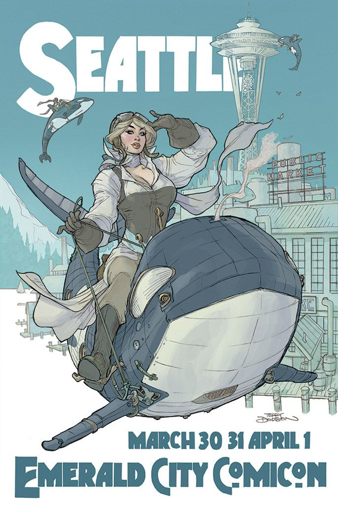 Emerald City Comiccon Poster- Flying Steampunk Orcas by Terry Dodson