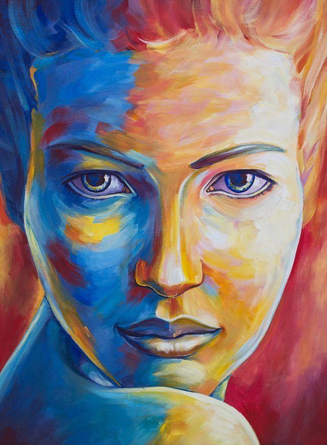 Portrait In Orange Blue Acrylic Portrait Painting Colorful