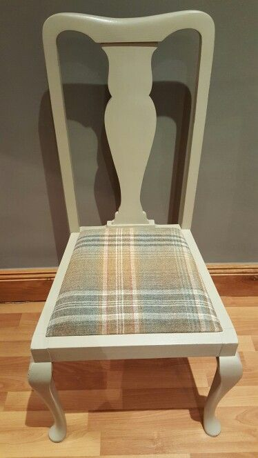 """Dining chair painted in Frenchic """"Posh Nelly"""" and hard wearing Finishing Coat with pure wool tartan fabric in gorgeous earthy tones"""