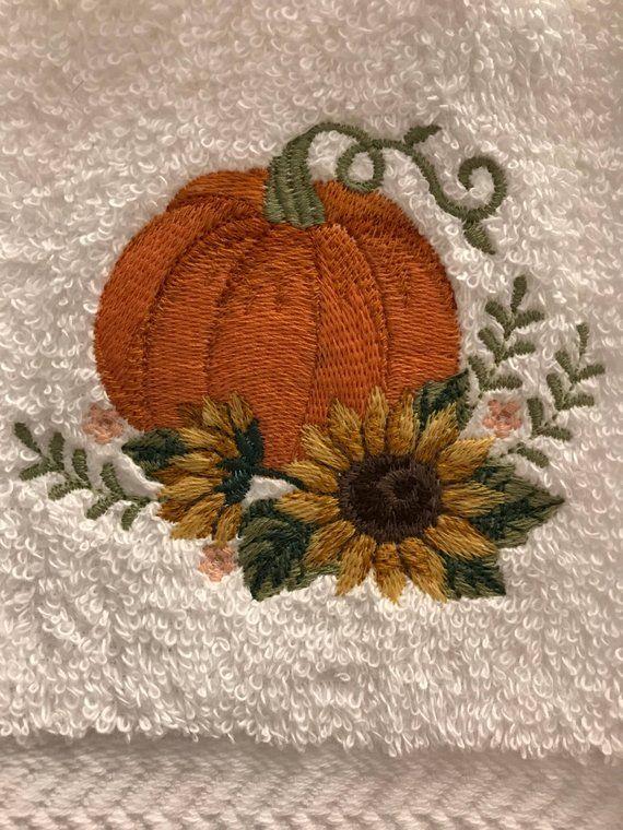 Hand Towel - Embroidered Sunflower Pumpkin #handtowels