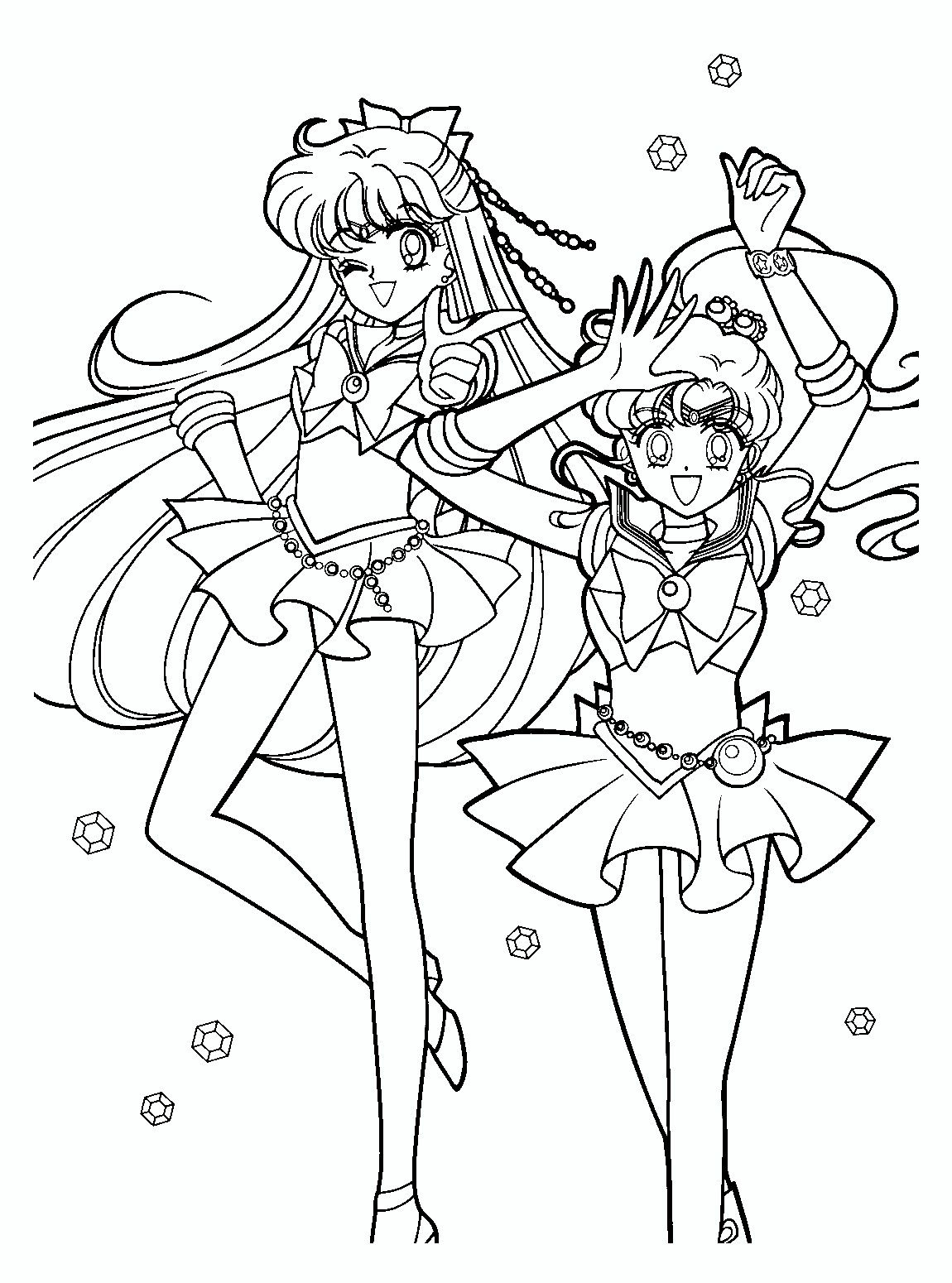 Sailor Moon Series Coloring Pages Venus And Jupiter