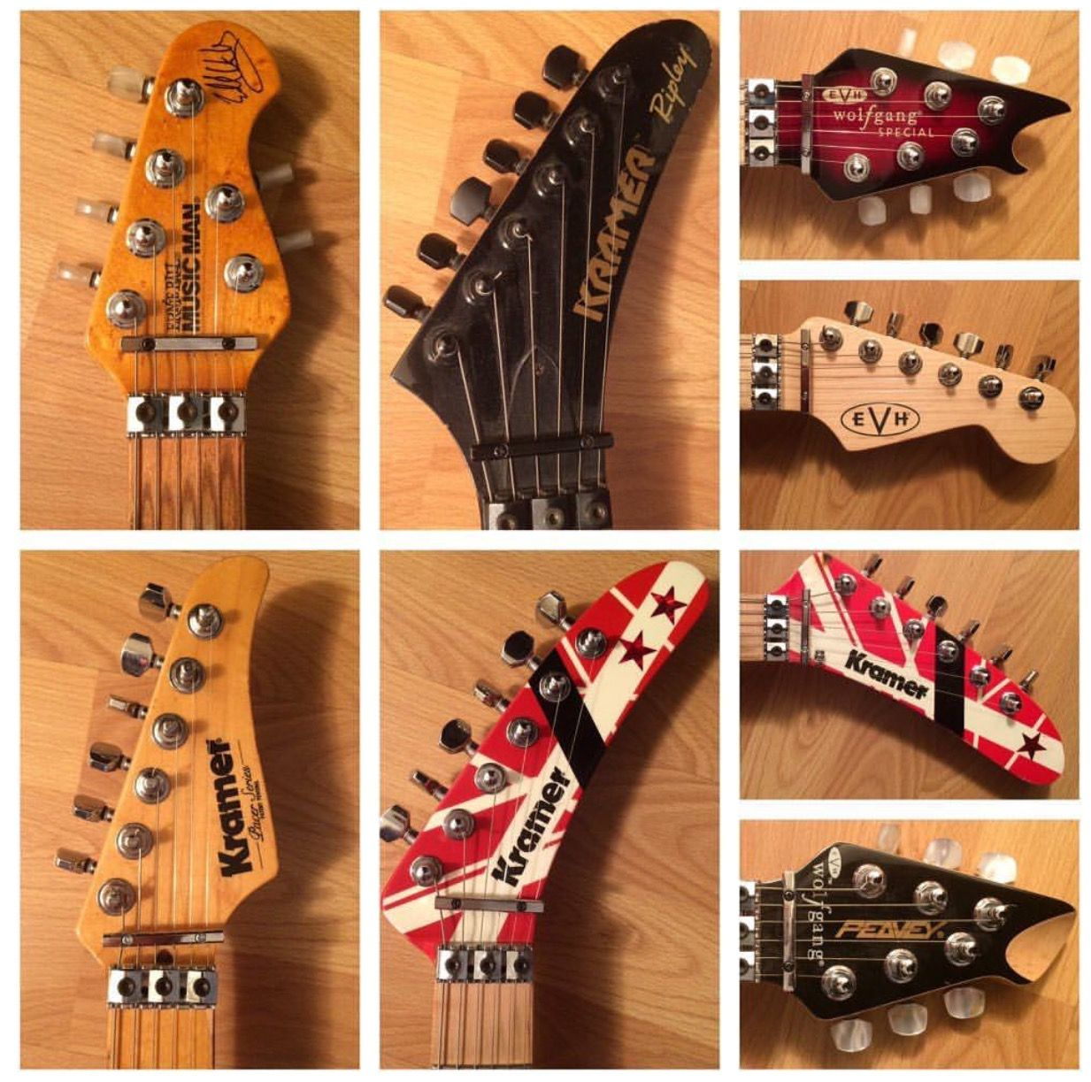 The Evolution Of The Evh Wolfgang Headstocks Guitars Guitar Design Eddie Van Halen Music Guitar