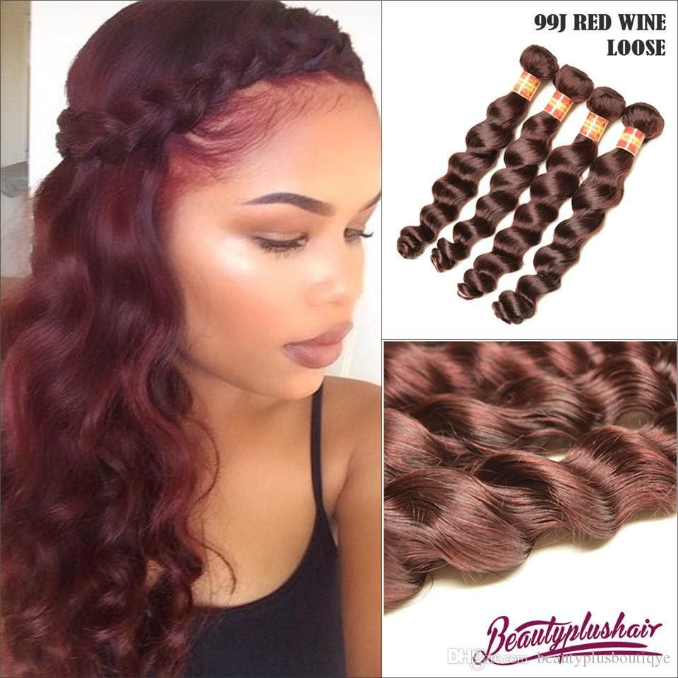 300g Burgundy Human Hair Extensions Loose Wave Brazilian Hair Weave