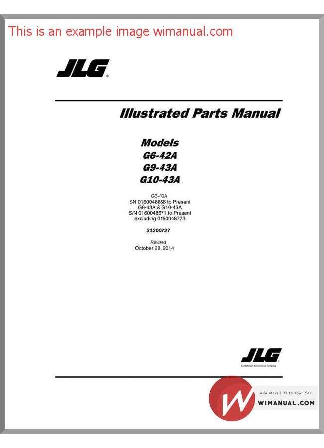 Jlg G10 43A Sn 0160048658 Present Teleh-ler Part Manual pdf download