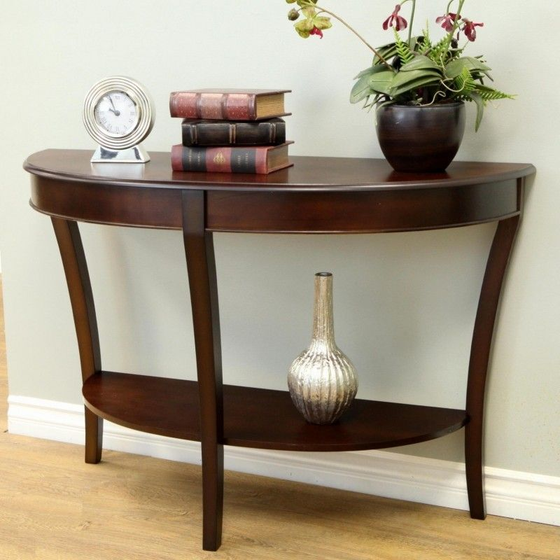 Use My Dark Wood Pieces Sparingly Half Circle Console Table