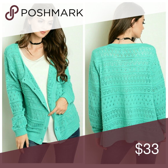 """Sage Sweater Long sleeve knitted button down cardigan.   Fabric: 55% Acrylic 45% Cotton  Size Small Measurements   Length: 22""""  Bust: 36"""" Sweaters Cardigans"""