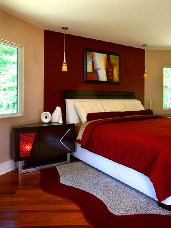 red bedroom love this tan with the red white woodwork too rh pinterest com  modern red bedroom