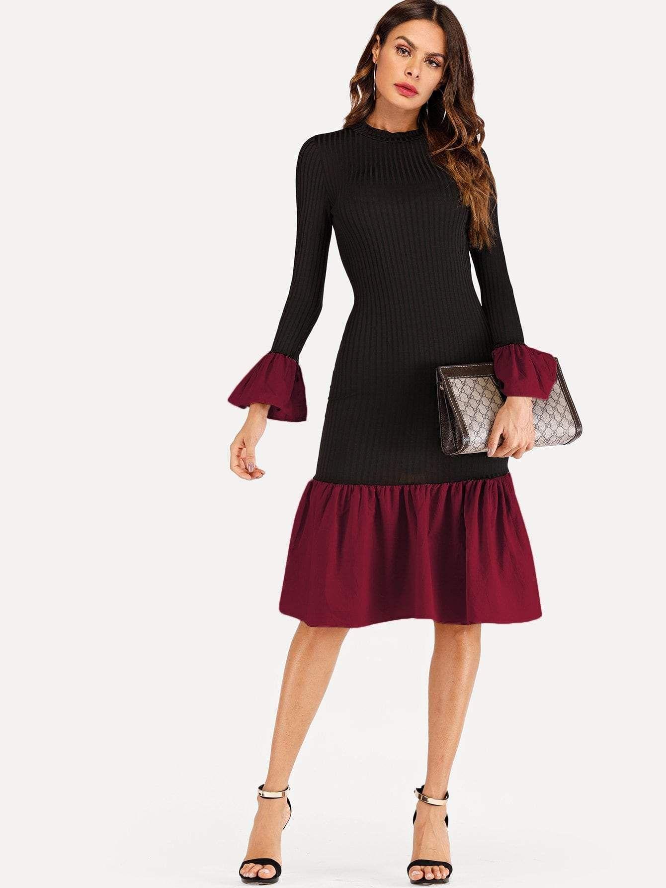 5305bf32d8b contrast ruffle hem knit dress.  dresses  clothing  style  outfits fashion