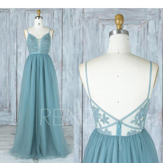 Bridesmaid Dress Dusty Blue Tulle Dress Wedding Dress Spaghetti Strap Maxi Dress V Neck Party Dress Lace Illusion Back Evening Dress(LS389) #blue