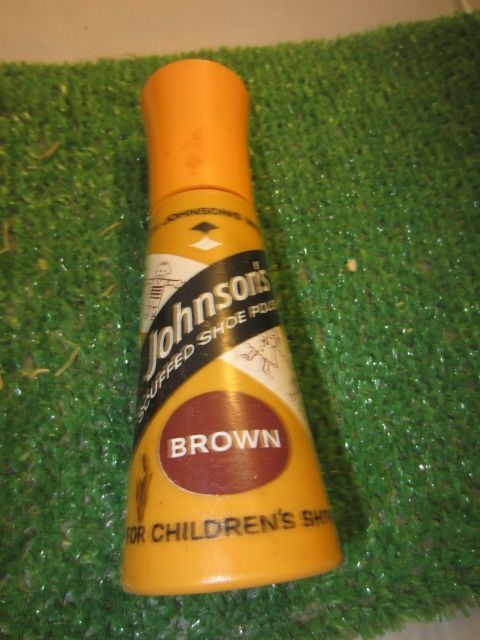 Vintage Johnson's scuffed shoe polish for children's shoes brown 2 fl oz kitschy