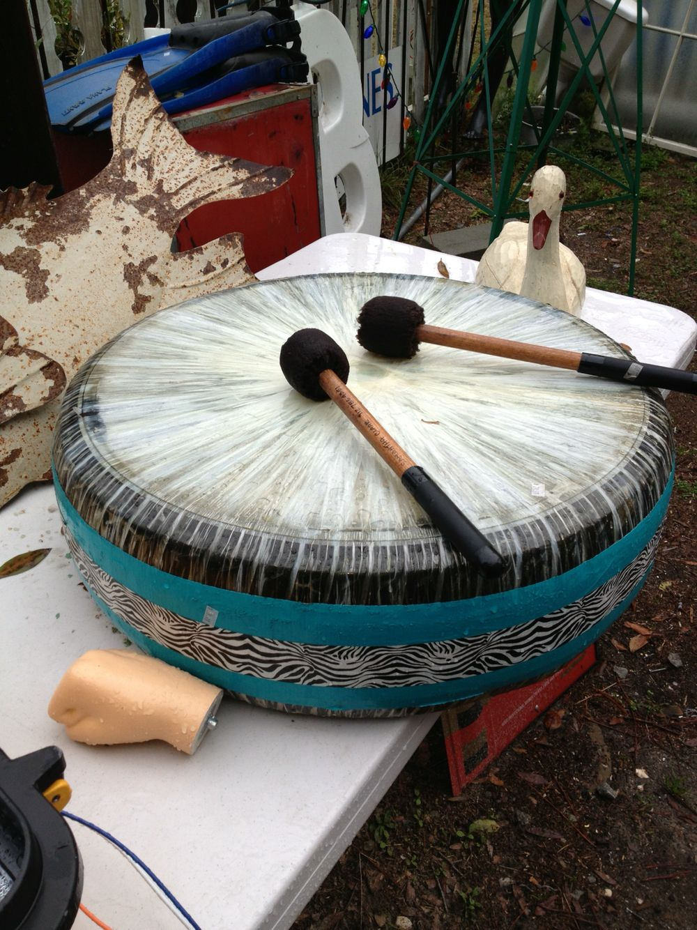 Drum made from a tire, packing tape and duct tape