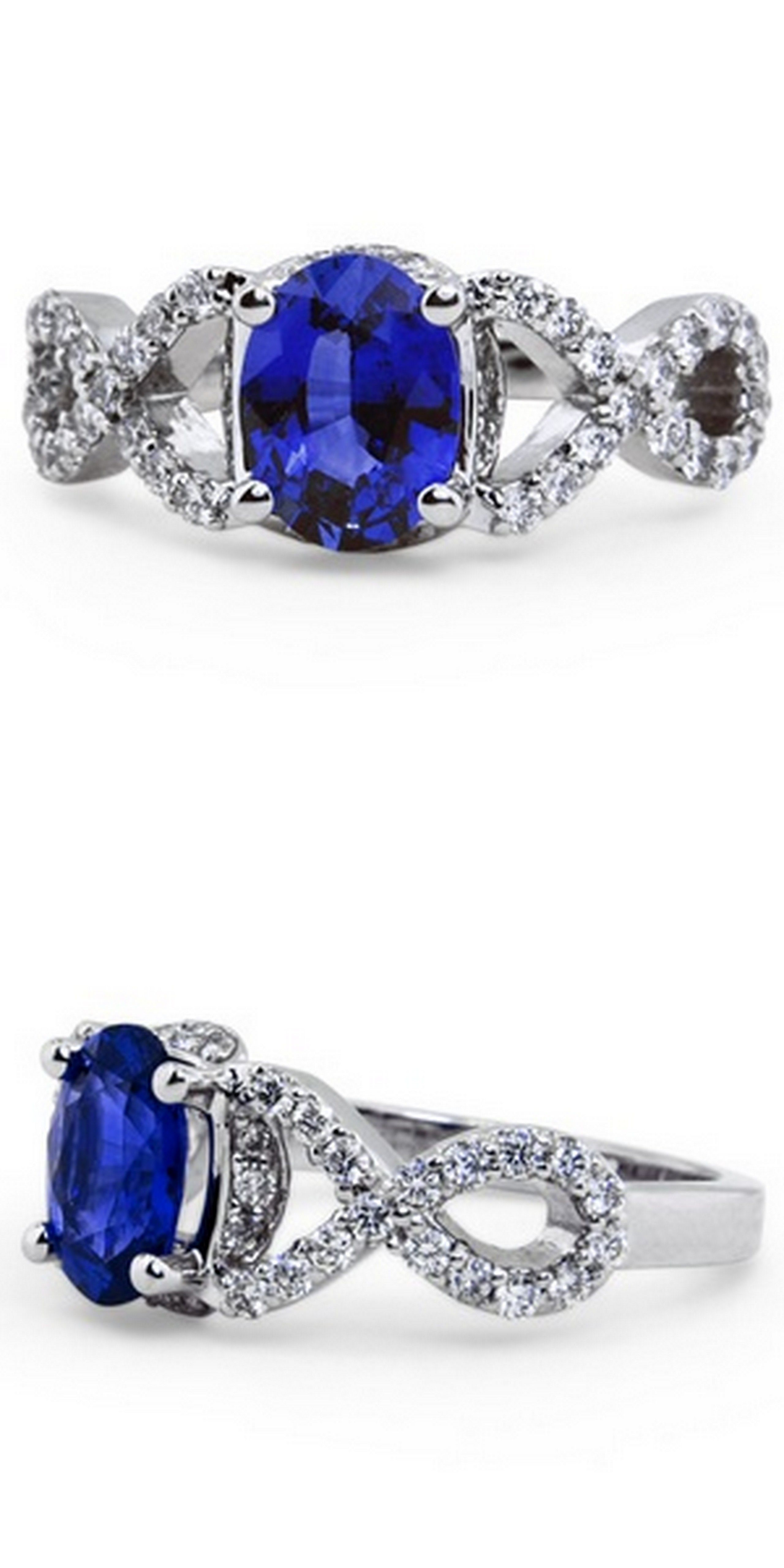 heart and miadora sterling created accent blue ring silver sapphire pin diamond infinity