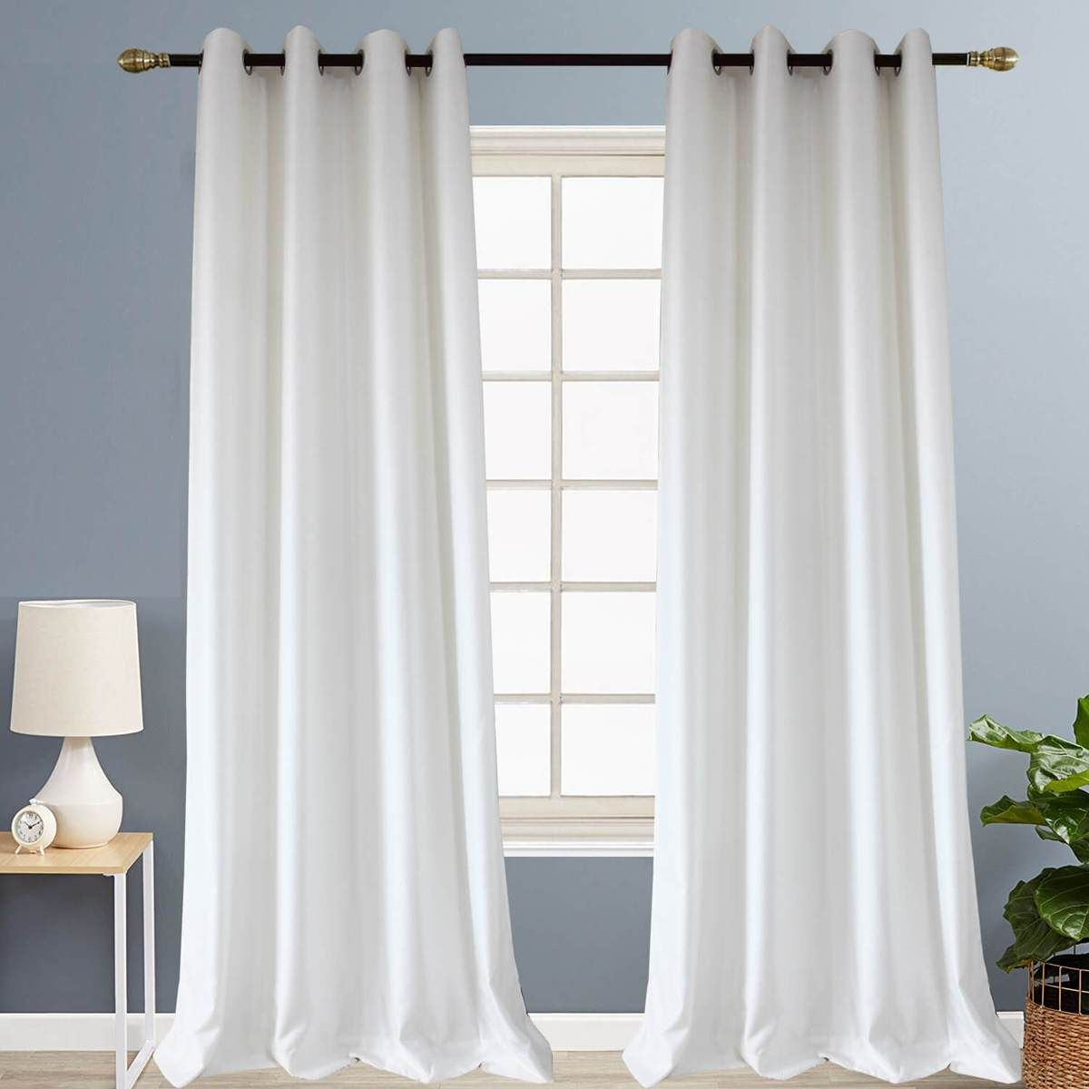 White Curtains Soft Small Texture Block Drapes For Bedroom Living