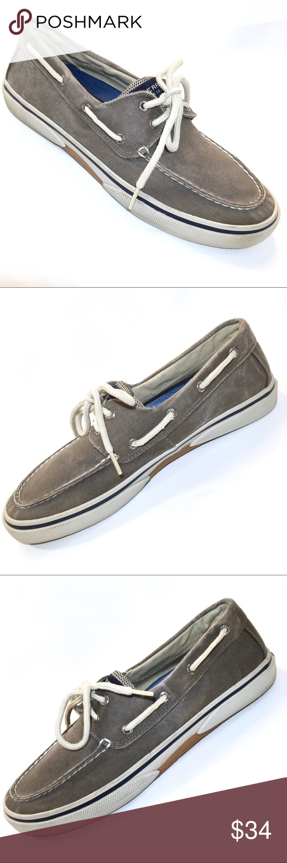 SPERRY Men's Halyard Sneaker Taupe Khaki Tan 10M These beige SPERRY TOP-SIDER Me…