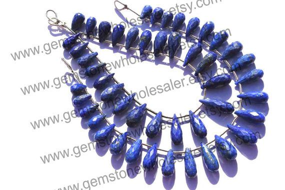 Lapis Lazuli Faceted Drops Quality AA / 18 by GemstoneWholesaler