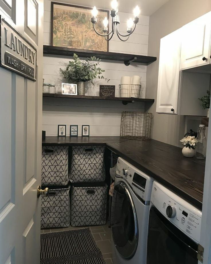 """Farmhouse Stylebook on Instagram: """"Small but elegant laundry room. This gives me hope for my own laundry room. #farmhouse #farmhousedecor #farmhousebedroom #farmhousebath…"""""""