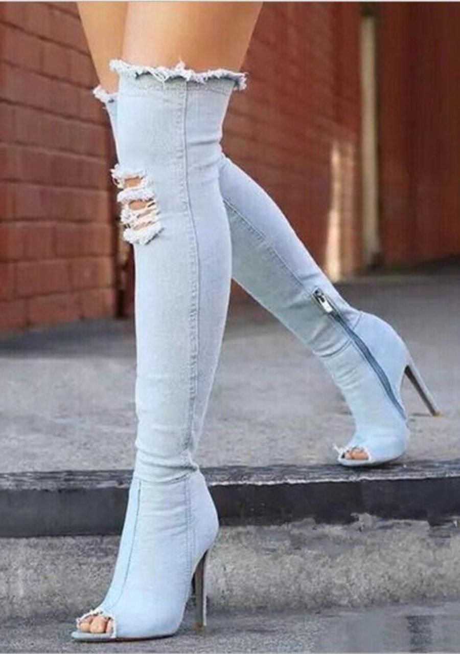 dae99ad0d713 Sky Blue Denim Thigh High Over-The-Knee Peep Toe Boots in 2018 ...