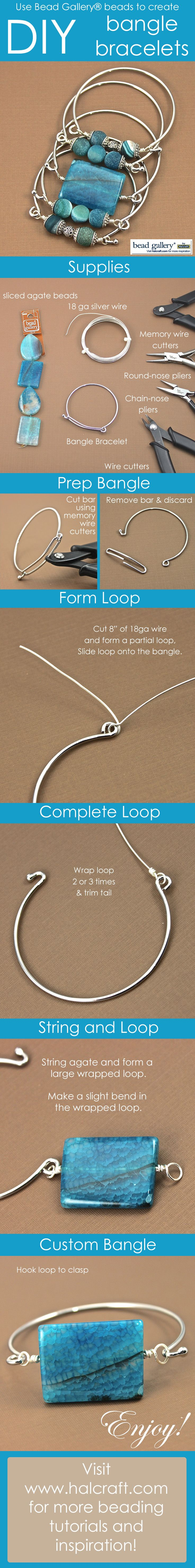 Wire bangle bracelets #beaded #jewelry #DIY