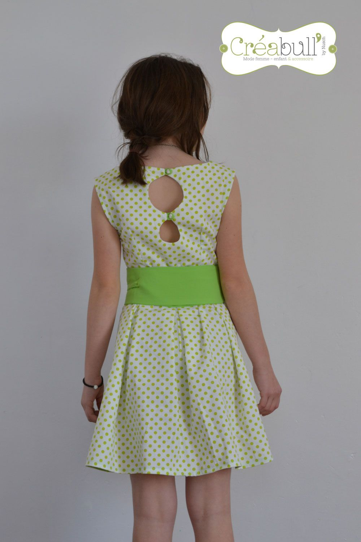 40fe870d239 opale-piqué-de-coton-à-pois-vert-anis-dos-robe grains de couture taille 14  ans