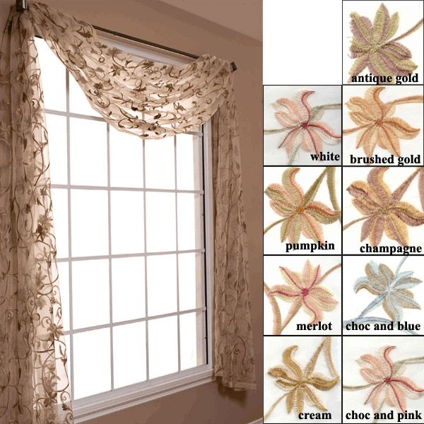 Lovely Eden Sheer Voile Floral Embroidered Scarf Valance And Curtain Panels By  Softline   FINAL SALE