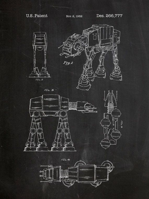 Star wars at at screen print atat blueprint patent poster movie atat star wars patent poster 18x24 screen print decoration technical invention design blueprint schematic retro educational cool screenprint malvernweather Image collections