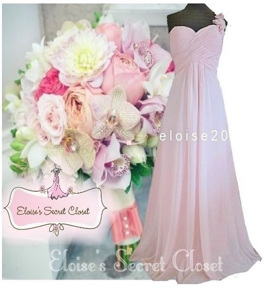 Bnwt Pink One Shoulder Corsage Chiffon Maxi Prom Evening Bridesmaid Dress