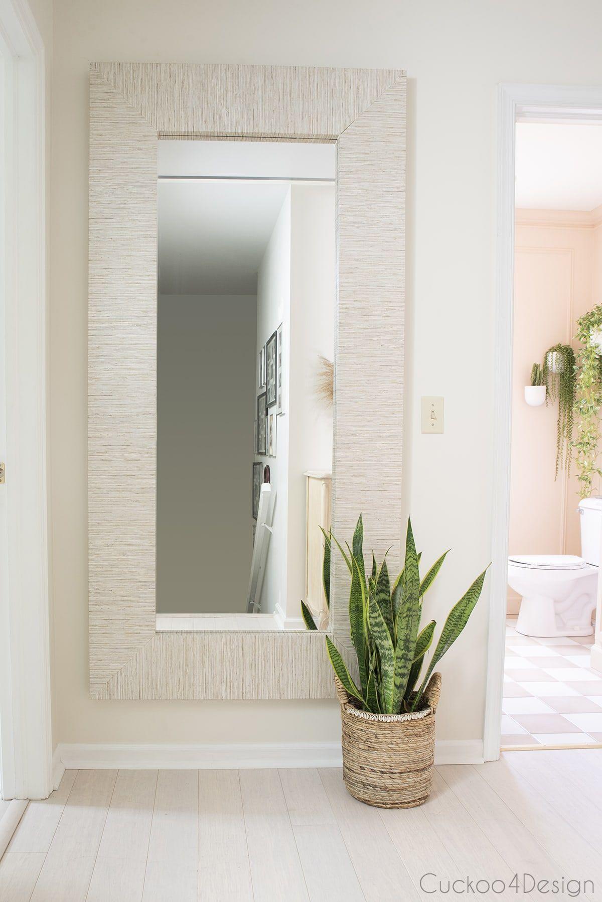 Ikea Mongstad Faux Grasscloth Wallpaper Makeover Ikea Mirror Mirror Makeover Grasscloth Wallpaper
