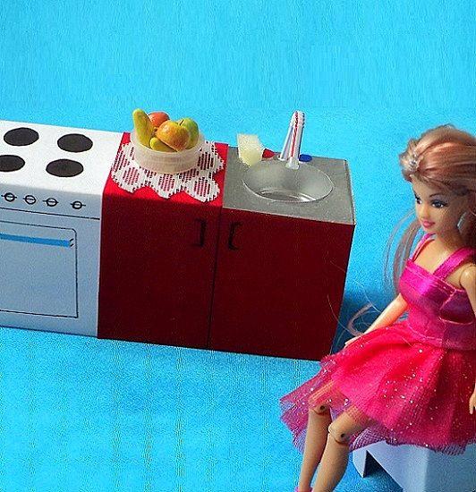 Кухня для кукол из картона своими руками