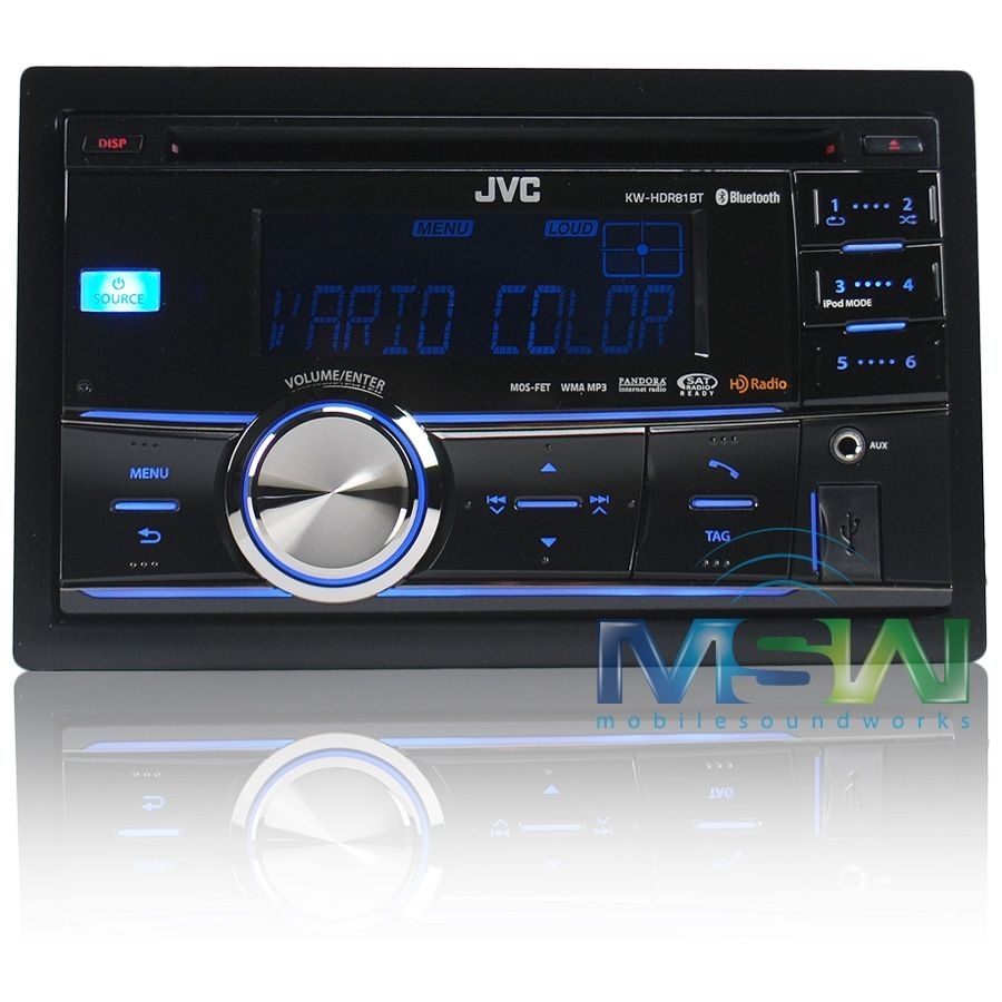 jvc kw hdr81bt in dash double din am fm cd car stereo receiver w bluetooth usb ipod connection hd radio pandora control [ 900 x 900 Pixel ]