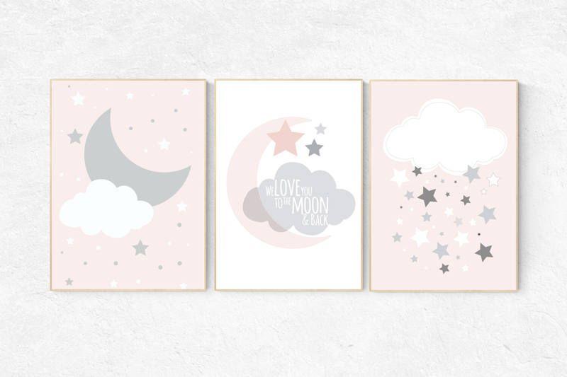 we love you to the moon and back pink nursery art star nursery