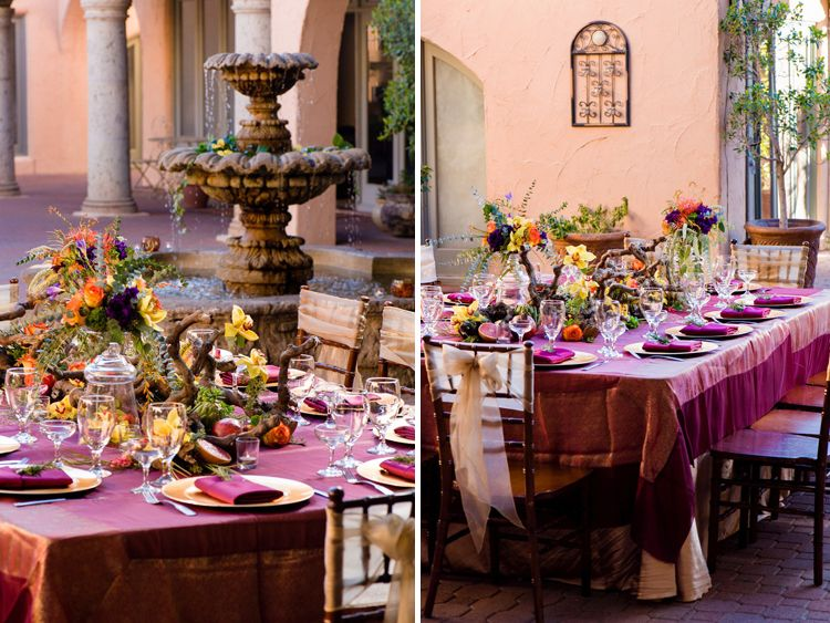 Click To View More From This Vibrant Thanksgiving And Fall Wedding Tablescape Featuring Rustic Elements