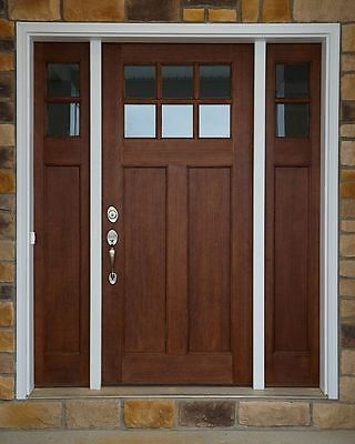 Craftsman 6 Lite Clear Alder Front Entry Door With 2 Sidelights