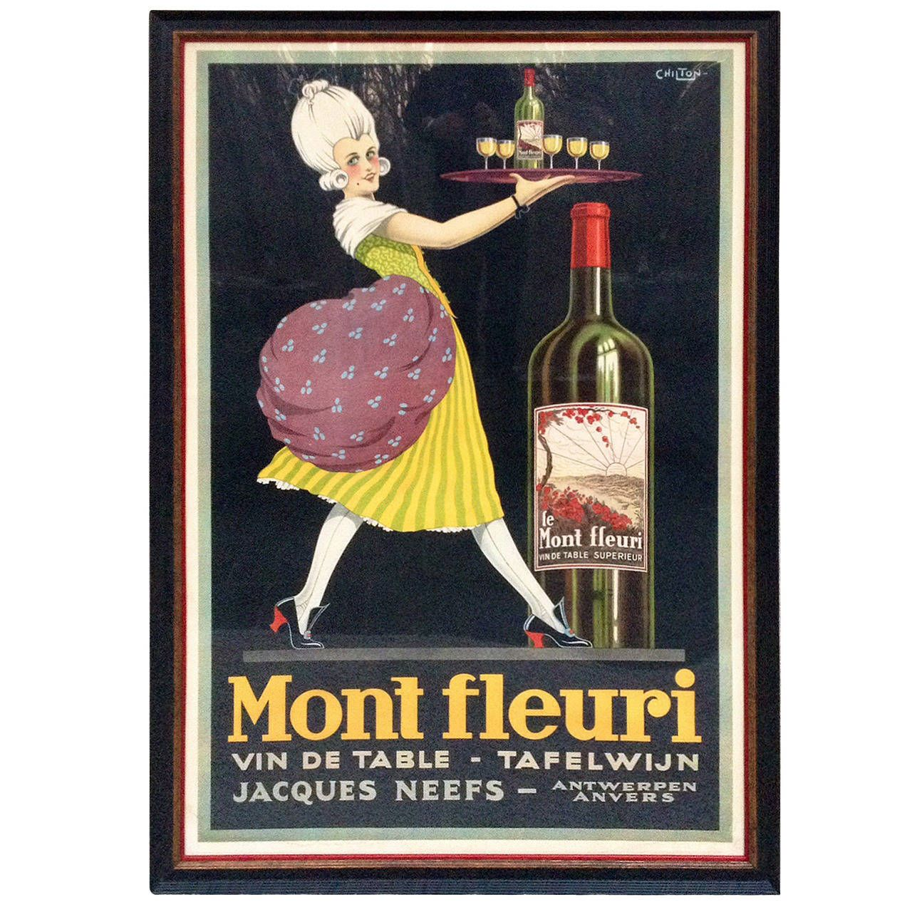 Rare Chilton French Wine Poster Mont Fleuri Jacques Neefs