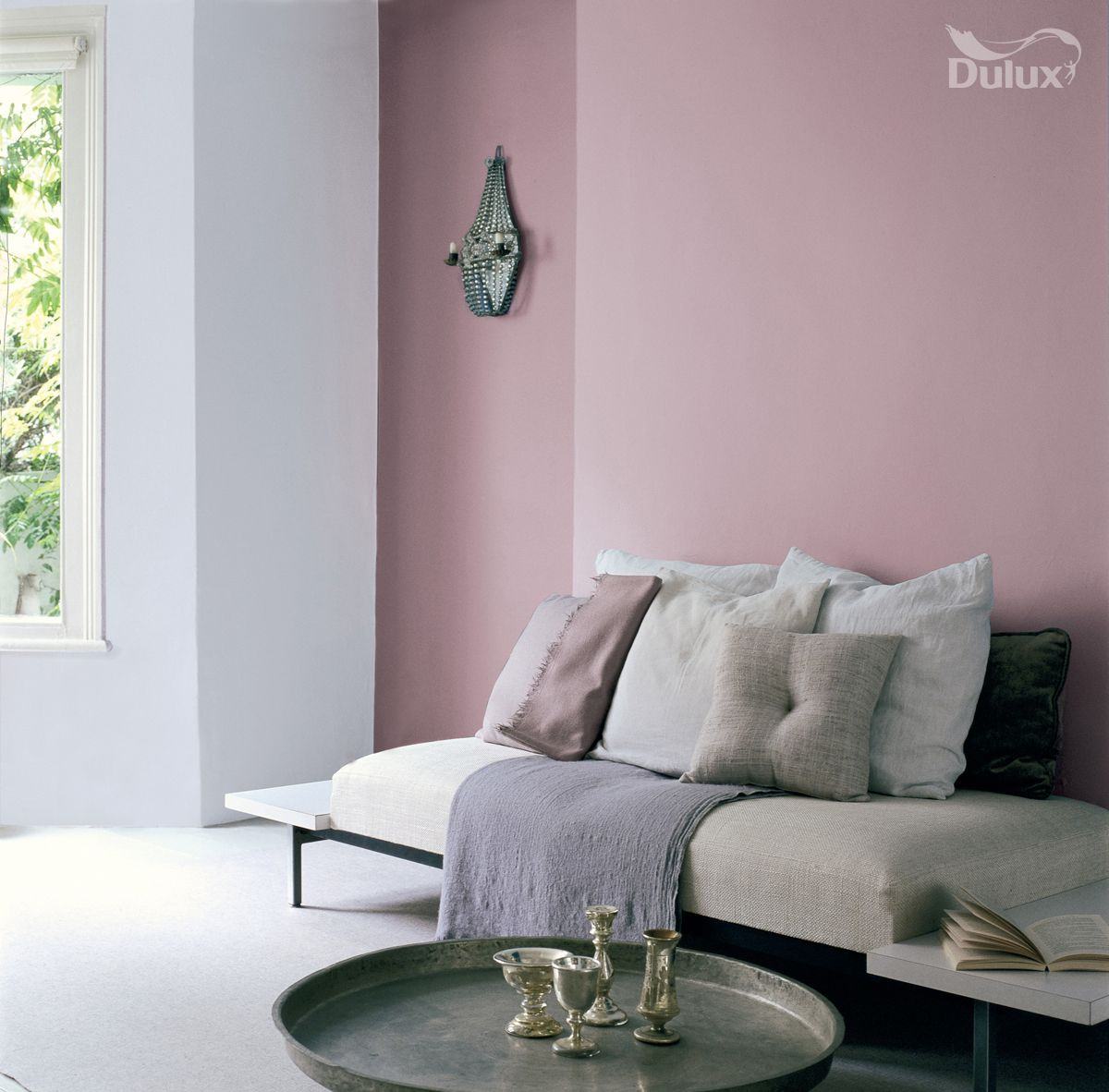 Violet and blue is an enchanting combination of delicate for Dulux paint living room ideas